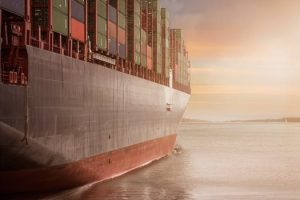A ship carrying containers