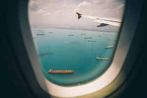 a sea view from the airplane - air freight services