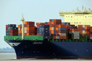 Containers on the boat